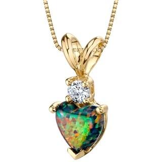 Oravo 14K Yellow Gold Gold Heart Shape Created Black Opal Diamond Pendant