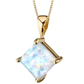 Oravo 14K Yellow Gold Gold Princess Cut Created Opal Pendant