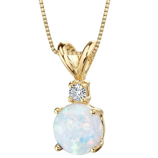 Oravo 14K Yellow Gold Gold Created Opal Diamond Solitaire Pendant. Opens flyout.