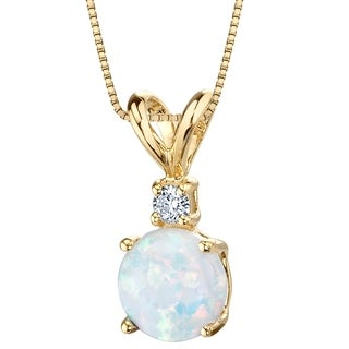 Oravo 14K Yellow Gold Gold Created Opal Diamond Solitaire Pendant