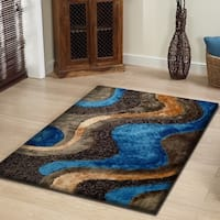 Rug Addiction Blue Light-gold Brown Two Inch Pile Thickness Hand Tufted Silky Shag Area Rug - 5' x 7'