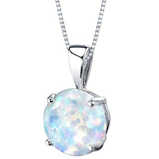 Oravo 14K White Gold Gold Created Opal Solitaire Pendant