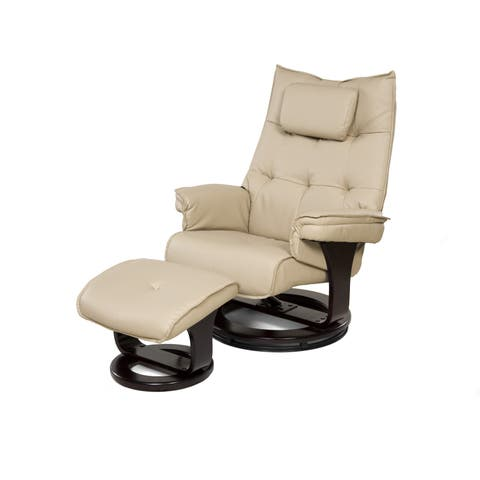 Relaxzen 60-051002 8-Motor Massage Recliner with Lumbar Heat and Ottoman, Cream