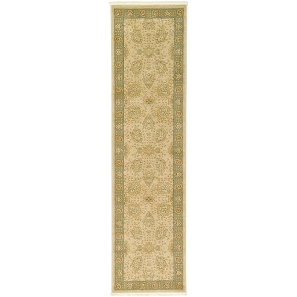 Heritage Cream/Green Floral Runner Rug (2'7 x 10')