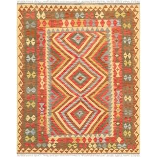 "Anatolian Multi Kilim Hand-Woven Wool Area Rug (5' 1"" X 6' 5"")"