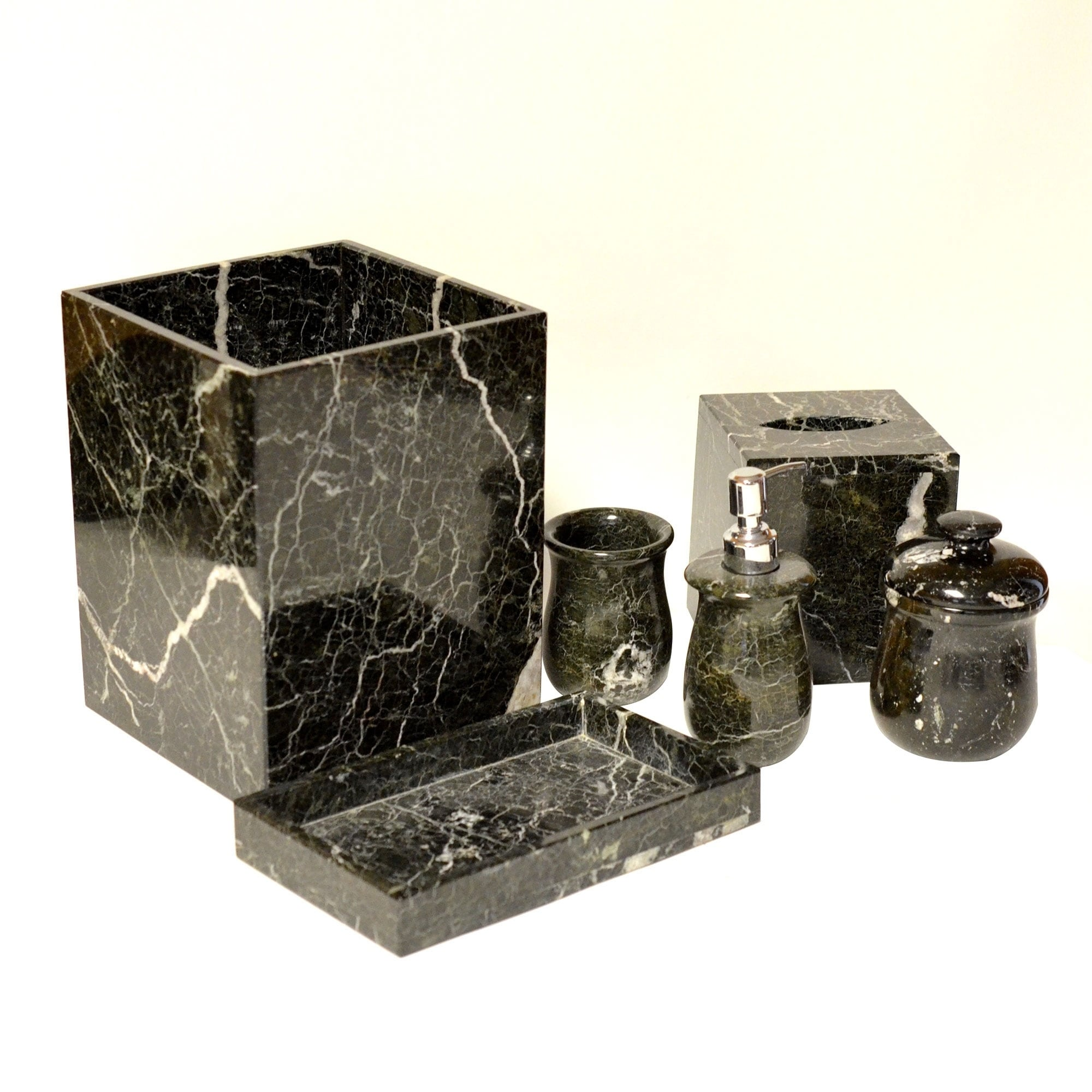 Polished Marble 7 Piece Bath Set Black Zebra Shower And Bathroom Accessory Overstock 17679415