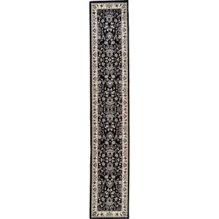 Kashan Black/Cream Runner Rug (3' x 16'5)