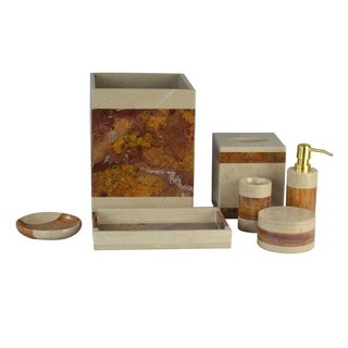 Polished Marble 7-Piece Bath Set, Desert Sand and Amber, Shower and Bathroom Accessory