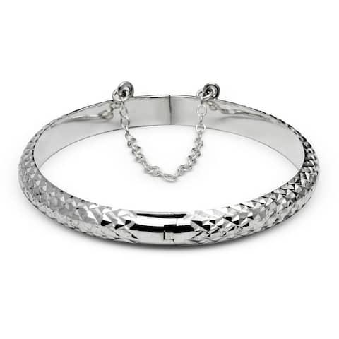 Sterling Silver 6-Inch 5mm Diamond-cut Hinged Round Children's Bangle Bracelet