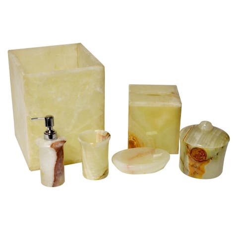 Polished Marble 6-Piece Bath Set, Chartreuse, Shower and Bathroom Accessory