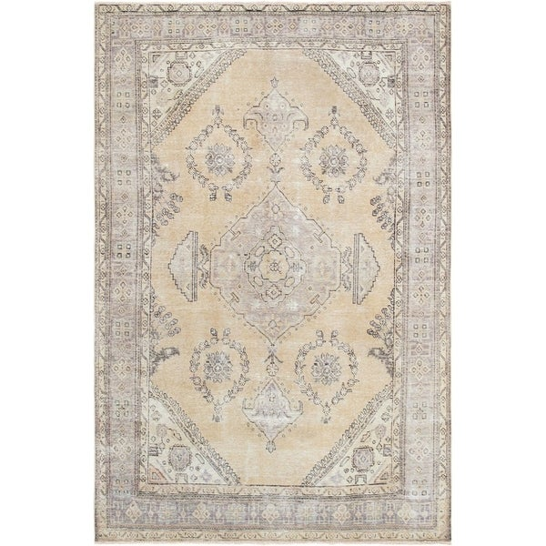 """Pasargad Vintage Beige Overdye Collection Hand-Knotted Wool Area Rug (6' 4"""" X 10' 0"""") - 6' x 10'"""