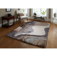 Rug Addiction Gray Silver Beige Brown Black Two Inch Pile Thickness Hand Tufted Silky Shag Area Rug - 5' x 7'