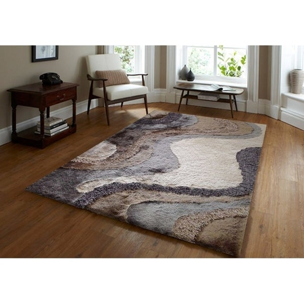Rug Addiction Gray Silver Beige Brown Black Two Inch Pile Thickness Hand Tufted Silky Area