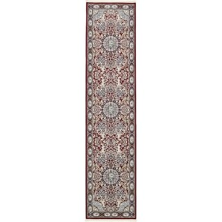 Tabriz Burgundy Medallion Runner Rug (3' x 13')