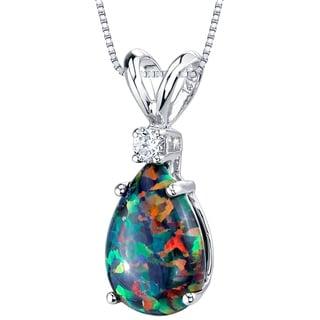 Oravo 14K White Gold Gold Pear Shape Created Black Opal Diamond Pendant