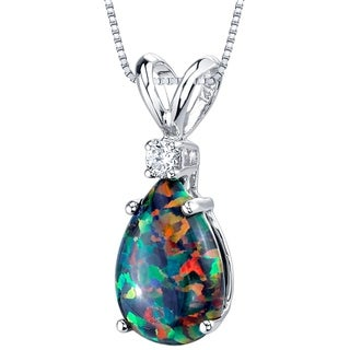 Oravo 14K White Gold Gold Pear Shape Created Black Opal Diamond Pendant