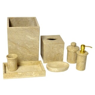 Polished Marble 7-PieceBath Set, Golden Wheat, Shower and Bathroom Accessory