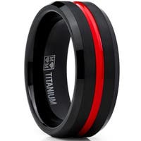 Oliveti Men's Black and Red Titanium Ring Wedding Band Comfort Fit 8mm