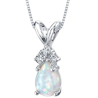Oravo 14K White Gold Gold Pear Shape Created Opal Diamond Pendant