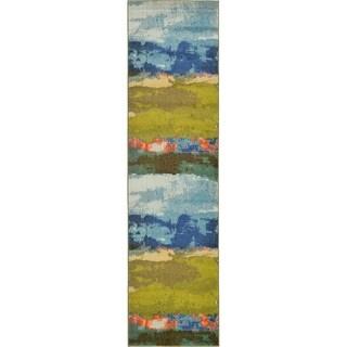 Blue/Brown Floral Runner Rug (2'7 x 10')