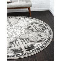 "Unique Loom Cathedral La Jolla Round Rug - 3'3"" round"