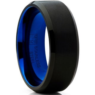 Oliveti Black and Blue Stainless Steel Wedding Band Ring Comfort Fit 8mm