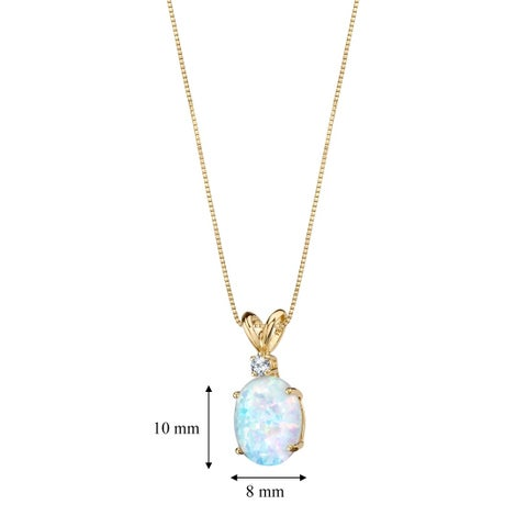Oravo 14K Yellow Gold Gold Oval Shape Created Opal Diamond Pendant