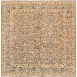 """Pasargad Ferehan Collection Hand-Knotted Brown Wool Area Rug (9' 4"""" X 9' 7"""")"""