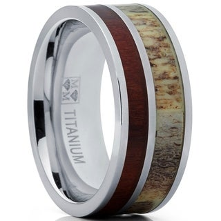 Oliveti Men's Hunting Titanium Ring with Real Deer Antler and koa Wood Inlay Outdoor Band