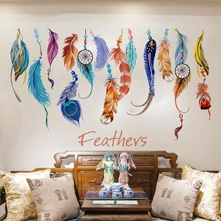 Colorful Lucky Feather Wall Sticker Vinyl Decal Home Decor Mural Art