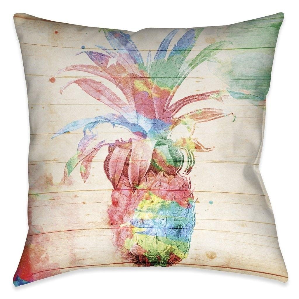 Laural Home Watercolor Pineapple Indoor Decorative Pillow 18 X18 On Sale Overstock 17679848