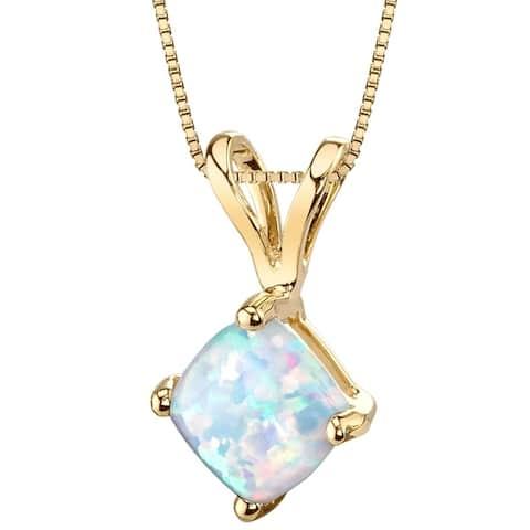 Oravo 14K Yellow Gold Gold Cushion Cut Created Opal Pendant