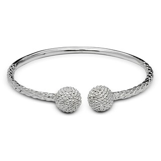 Sterling Silver 6-Inch Large Cystal Ball End Cap Cable Children's Adjustable Cuff Bangle Bracelet
