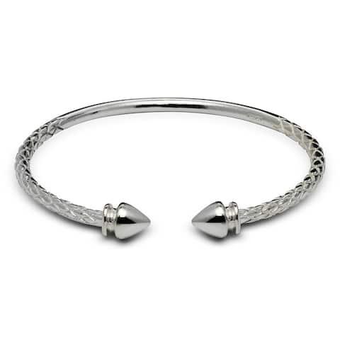 Sterling Silver 6-Inch Large Arrow End Cap Cable Children's Adjustable Cuff Bangle Bracelet