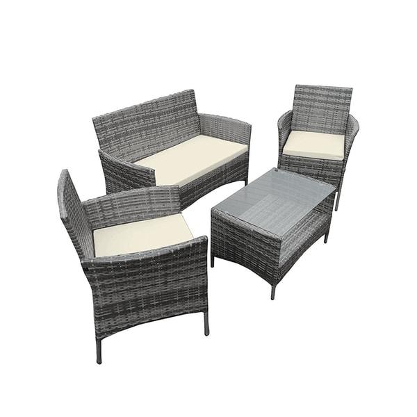 Shop Aleko Caprera Set Rattan Wicker Furniture 4 Piece Indoor