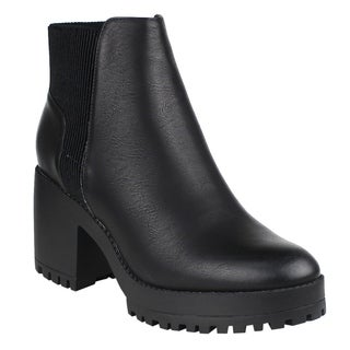 Beston EI56 Women's Inner Zipper Pleated Lug Sole Chunky Heel Ankle Booties