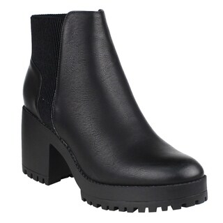 Beston EI56 Women's Inner Zipper Pleated Lug Sole Chunky Heel Ankle Booties (More options available)