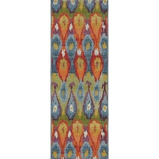 Unique Loom Ikat Outdoor Runner Rug - Multi - 2' x 6'