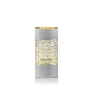 """10"""" Tall LED Hurricane Candle Holder, Line Design, White"""