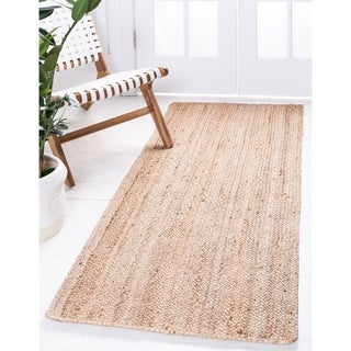 Braided Jute White/Beige Solid Runner Rug (2' 6 x 6')