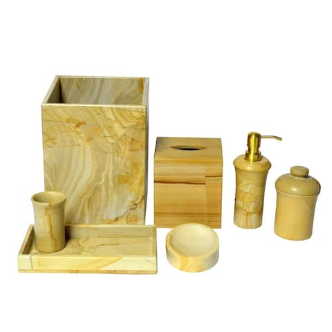 Polished Marble 7-Piece Bath Set, Teak, Shower and Bathroom Accessory