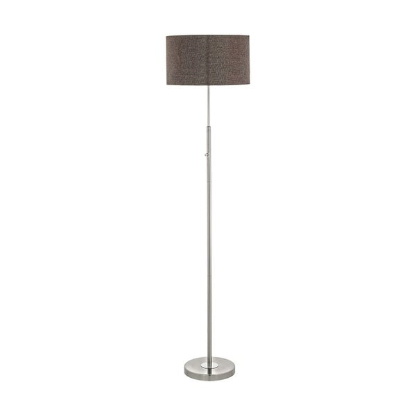 Eglo Romao 2 Floor Lamp with Brown Linen Shade and Satin Nickel Finish