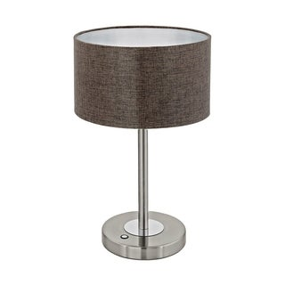 Eglo Romao 2 Table Lamp with Brown Linen Shade and Satin Nickel Finish