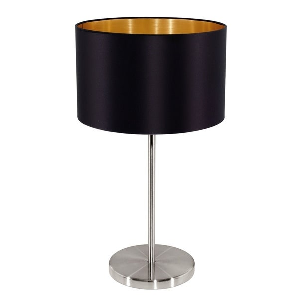Eglo Maserlo Table Lamp with Black Shade and Matte Nickel Finish
