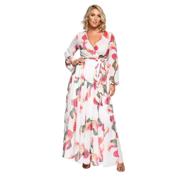 b964d459c19 Shop Xehar Womens Plus Size Chiffon Floral Print Long Wrap Maxi ...