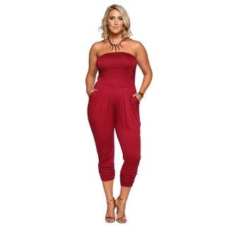 Xehar Womens Plus Size Strapless Tube Pleated Front Jumpsuit Romper