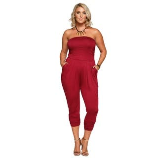 Xehar Womens Plus Size Strapless Tube Pleated Front Jumpsuit Romper|https://ak1.ostkcdn.com/images/products/17681858/P23890048.jpg?impolicy=medium