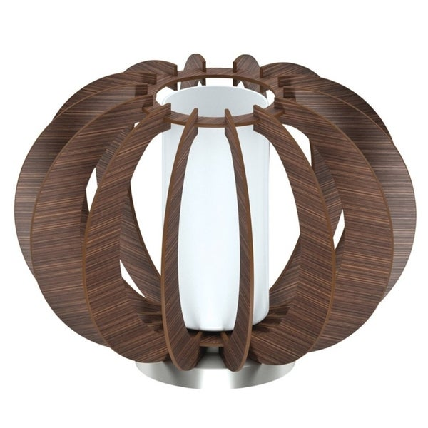 Eglo Stellato 3 Table Lamp with Dark Brown Finish and Satin Glass