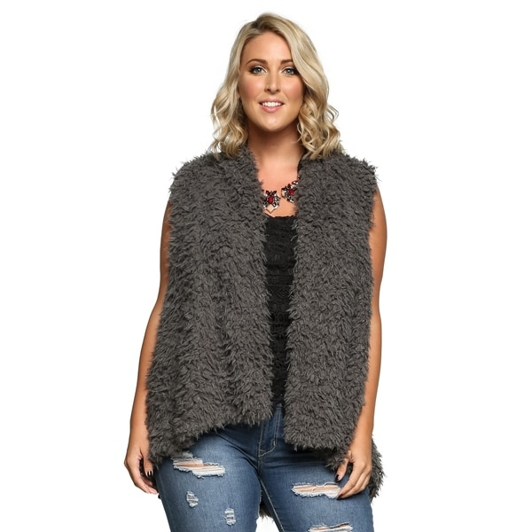 774173981b4 Shop Xehar Womens Plus Size Warm Trendy Faux Fur Fuzzy Vest Coat ...