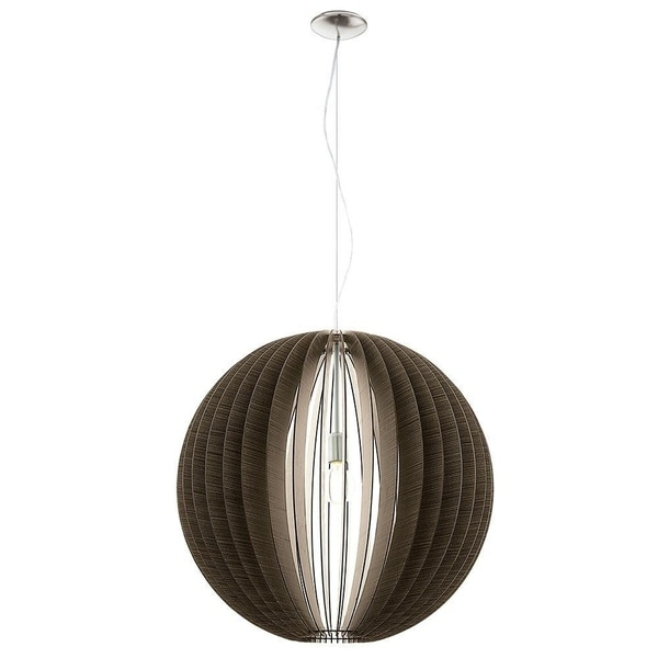 Eglo Cossano Pendant with Matte Nickel Finish and Dark Brown Shade
